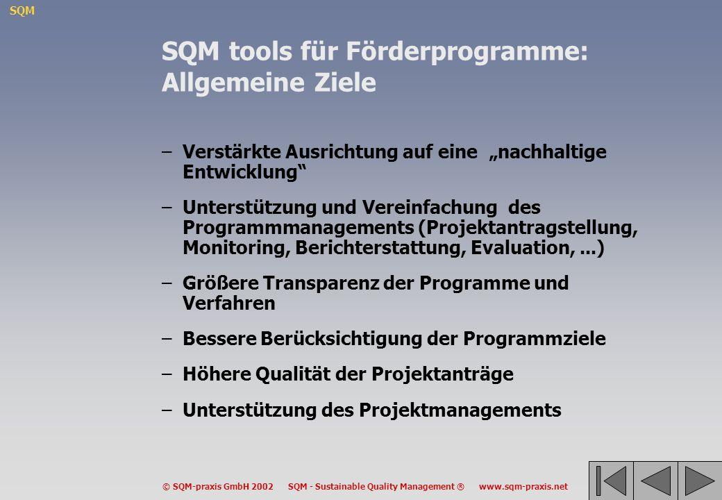 SQM © SQM-praxis GmbH 2002 SQM - Sustainable Quality Management ® www.sqm-praxis.net SQM tools für Förderprogramme: Allgemeine Ziele –Verstärkte Ausri