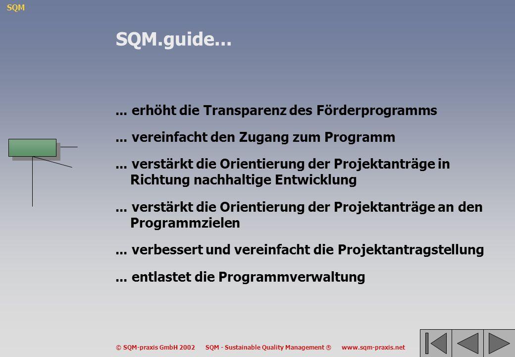 SQM © SQM-praxis GmbH 2002 SQM - Sustainable Quality Management ® www.sqm-praxis.net... erhöht die Transparenz des Förderprogramms... vereinfacht den