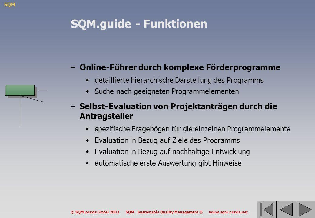 SQM © SQM-praxis GmbH 2002 SQM - Sustainable Quality Management ® www.sqm-praxis.net –Online-Führer durch komplexe Förderprogramme detaillierte hierar