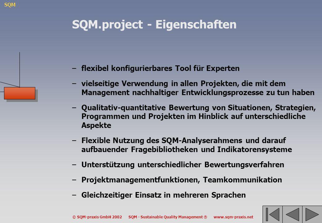 SQM © SQM-praxis GmbH 2002 SQM - Sustainable Quality Management ® www.sqm-praxis.net –flexibel konfigurierbares Tool für Experten –vielseitige Verwend