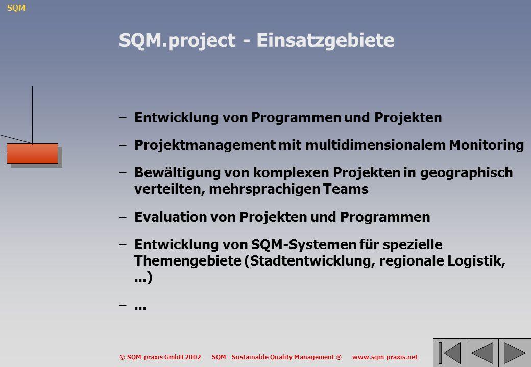 SQM © SQM-praxis GmbH 2002 SQM - Sustainable Quality Management ® www.sqm-praxis.net –Entwicklung von Programmen und Projekten –Projektmanagement mit