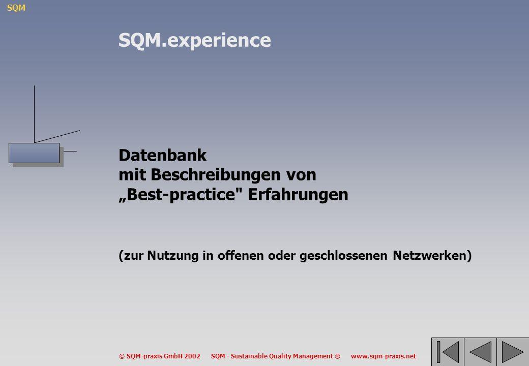 SQM © SQM-praxis GmbH 2002 SQM - Sustainable Quality Management ® www.sqm-praxis.net Datenbank mit Beschreibungen von Best-practice