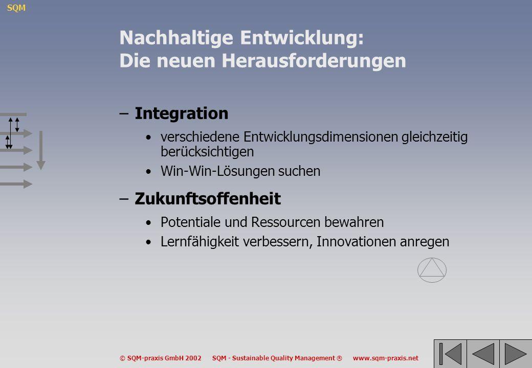 SQM © SQM-praxis GmbH 2002 SQM - Sustainable Quality Management ® www.sqm-praxis.net Nachhaltige Entwicklung: Defensiver und konstruktiver Ansatz –Defensiver Ansatz stellt die Erhaltung von Ressourcen und Potentialen in den Vordergrund stützt sich auf Minimalanforderungen tendiert zu sektoraler, additiver Betrachtung –Konstruktiver Ansatz stellt die Lern- und Innovationsfähigkeit in den Vordergrund betont die Bedeutung von Win-win-Lösungen strebt integrierte und strukturelle Veränderungen an