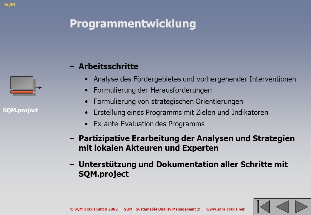 SQM © SQM-praxis GmbH 2002 SQM - Sustainable Quality Management ® www.sqm-praxis.net Programmentwicklung –Arbeitsschritte Analyse des Fördergebietes u