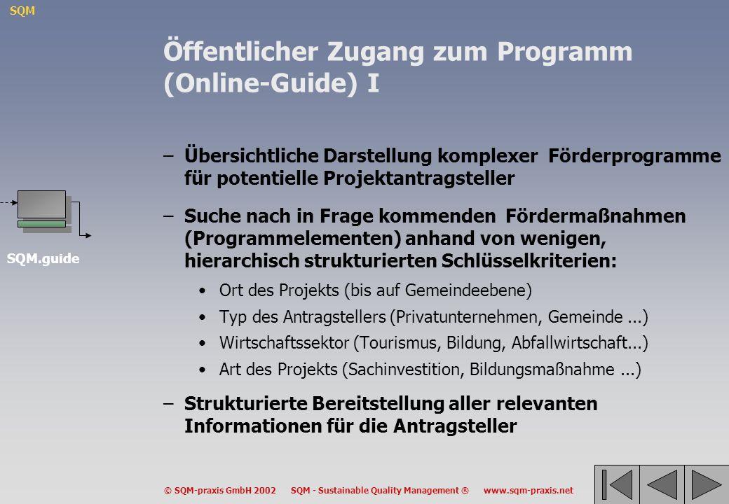 SQM © SQM-praxis GmbH 2002 SQM - Sustainable Quality Management ® www.sqm-praxis.net Öffentlicher Zugang zum Programm (Online-Guide) I –Übersichtliche