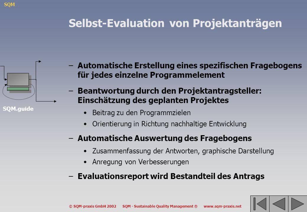 SQM © SQM-praxis GmbH 2002 SQM - Sustainable Quality Management ® www.sqm-praxis.net Selbst-Evaluation von Projektanträgen –Automatische Erstellung ei