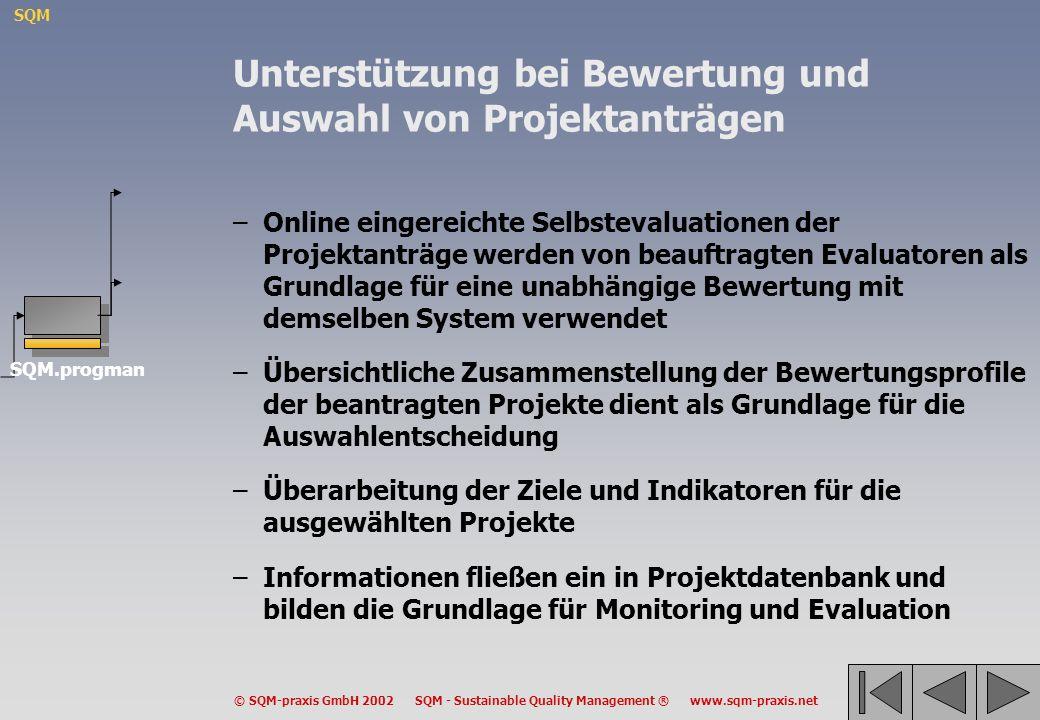 SQM © SQM-praxis GmbH 2002 SQM - Sustainable Quality Management ® www.sqm-praxis.net Unterstützung bei Bewertung und Auswahl von Projektanträgen –Onli