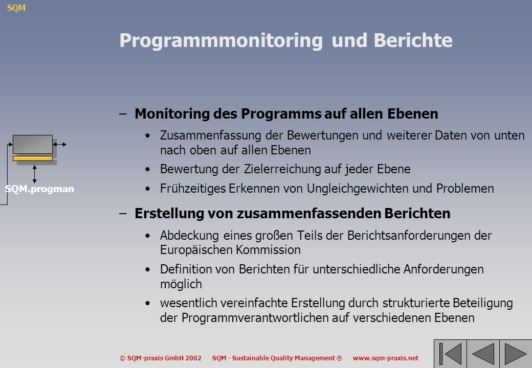 SQM © SQM-praxis GmbH 2002 SQM - Sustainable Quality Management ® www.sqm-praxis.net Programmmonitoring und Berichte –Monitoring des Programms auf all