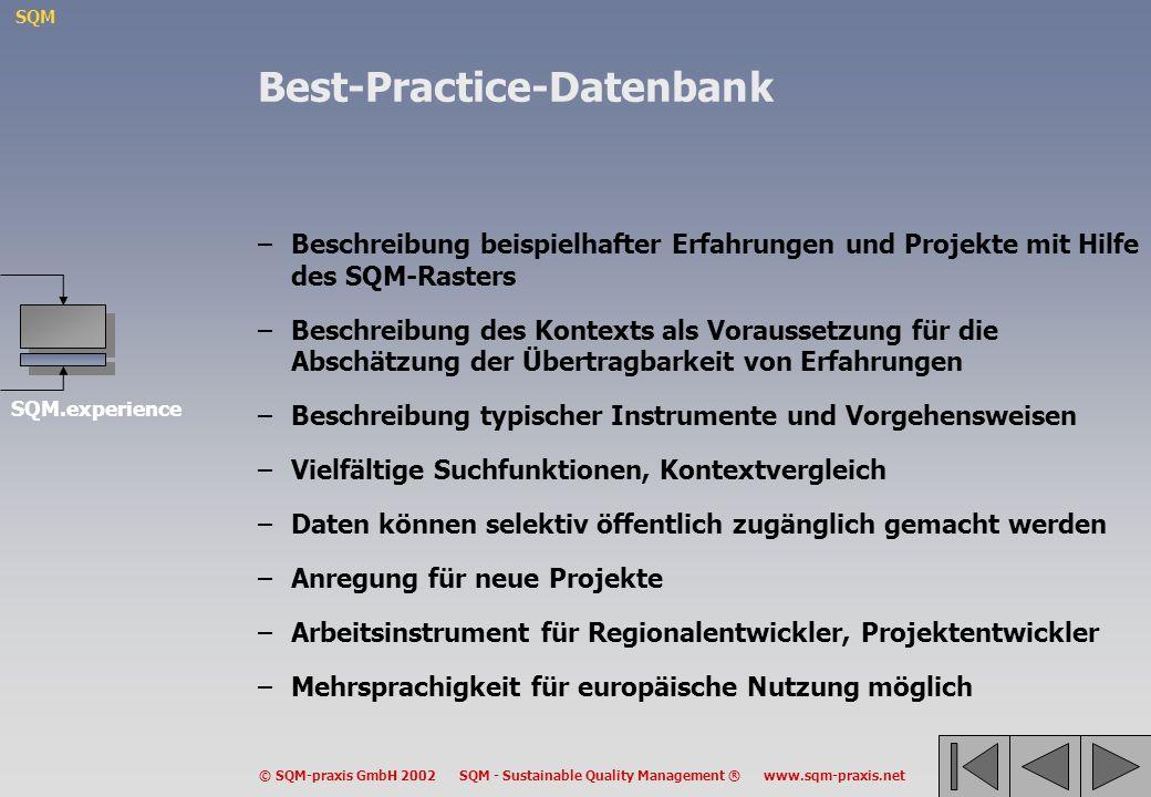 SQM © SQM-praxis GmbH 2002 SQM - Sustainable Quality Management ® www.sqm-praxis.net Best-Practice-Datenbank –Beschreibung beispielhafter Erfahrungen