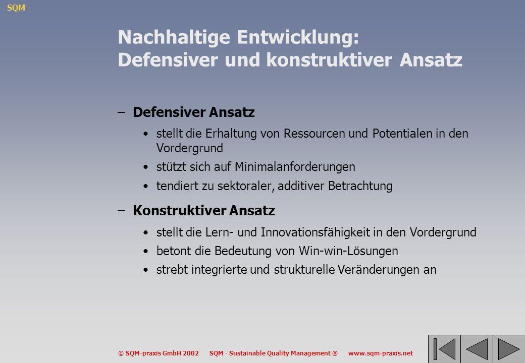 SQM © SQM-praxis GmbH 2002 SQM - Sustainable Quality Management ® www.sqm-praxis.net Nachhaltige Entwicklung: Defensiver und konstruktiver Ansatz –Def
