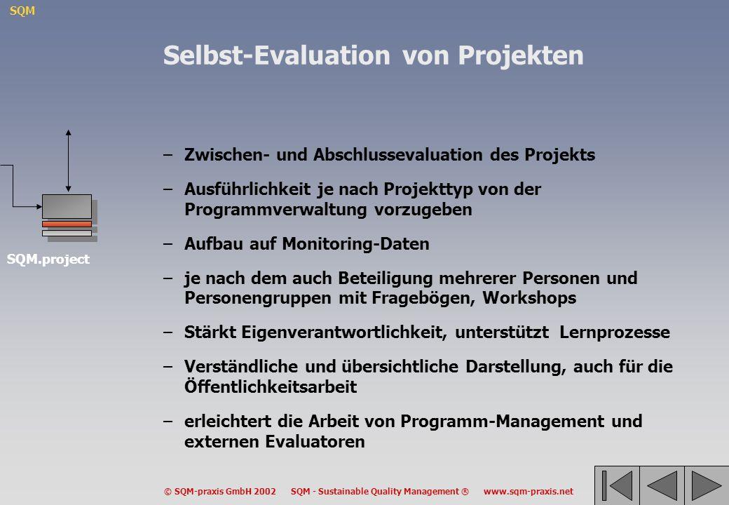 SQM © SQM-praxis GmbH 2002 SQM - Sustainable Quality Management ® www.sqm-praxis.net Selbst-Evaluation von Projekten –Zwischen- und Abschlussevaluatio