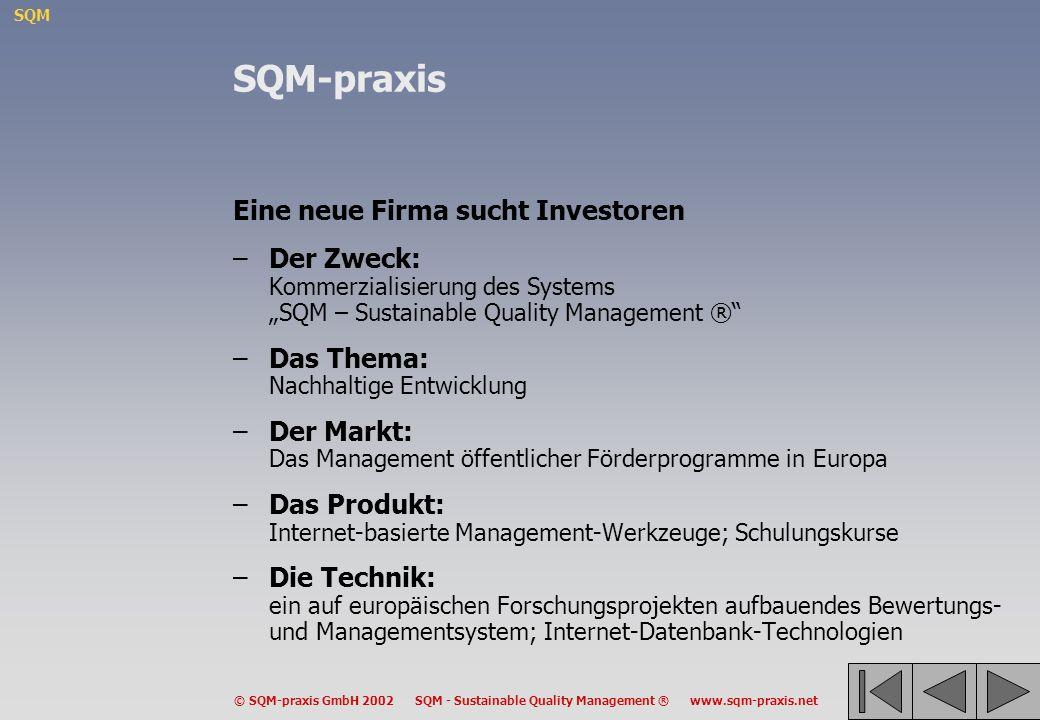 SQM © SQM-praxis GmbH 2002 SQM - Sustainable Quality Management ® www.sqm-praxis.net SQM-praxis Eine neue Firma sucht Investoren –Der Zweck: Kommerzia