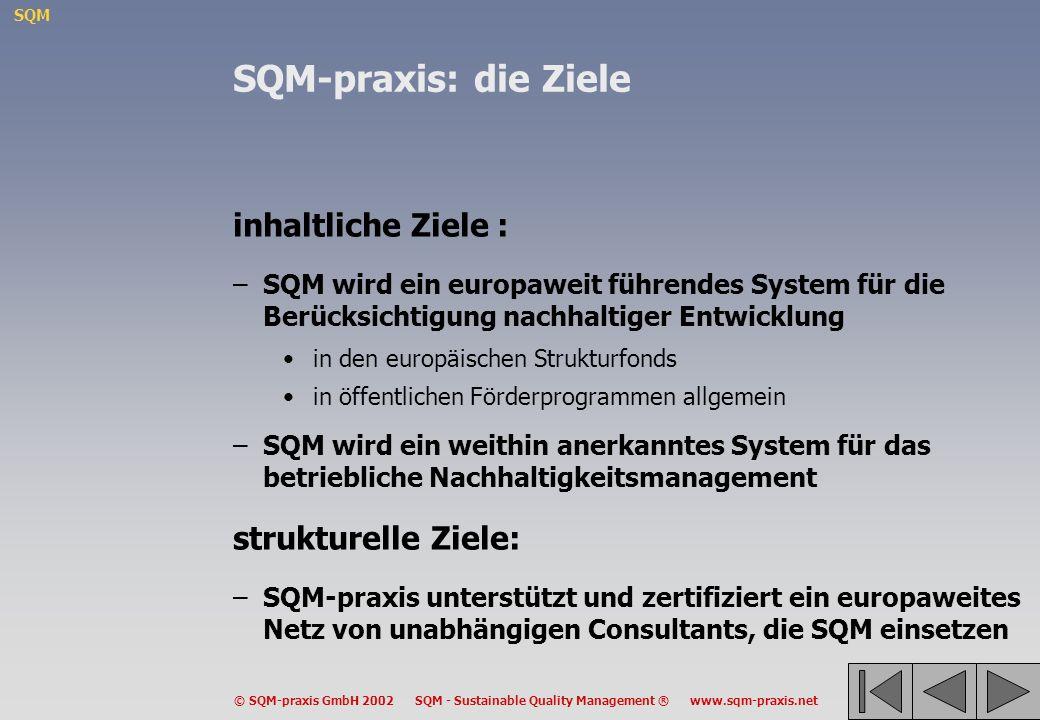SQM © SQM-praxis GmbH 2002 SQM - Sustainable Quality Management ® www.sqm-praxis.net SQM-praxis: die Ziele inhaltliche Ziele : –SQM wird ein europawei