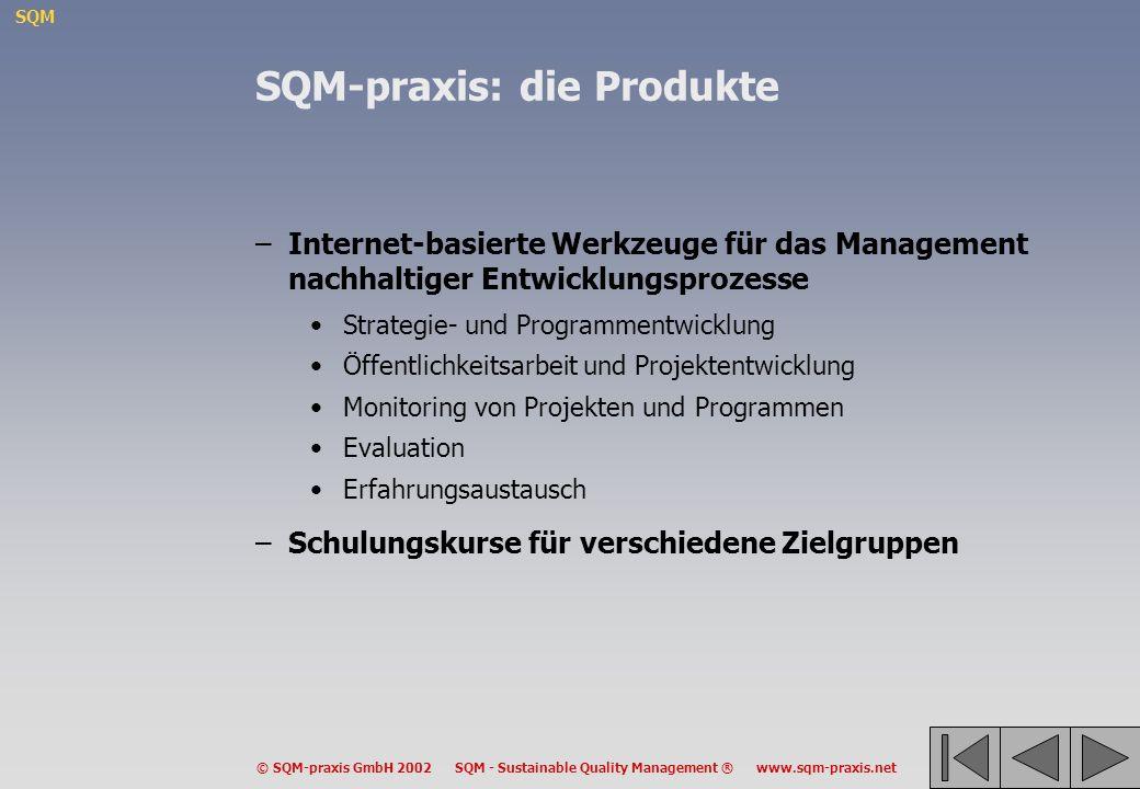 SQM © SQM-praxis GmbH 2002 SQM - Sustainable Quality Management ® www.sqm-praxis.net SQM-praxis: die Produkte –Internet-basierte Werkzeuge für das Man