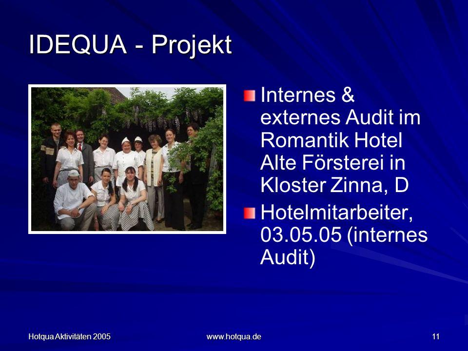 Hotqua Aktivitäten 2005 www.hotqua.de 11 IDEQUA - Projekt Internes & externes Audit im Romantik Hotel Alte Försterei in Kloster Zinna, D Hotelmitarbeiter, 03.05.05 (internes Audit)