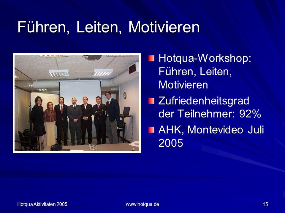 Hotqua Aktivitäten 2005 www.hotqua.de 15 Führen, Leiten, Motivieren Hotqua-Workshop: Führen, Leiten, Motivieren Zufriedenheitsgrad der Teilnehmer: 92% AHK, Montevideo Juli 2005