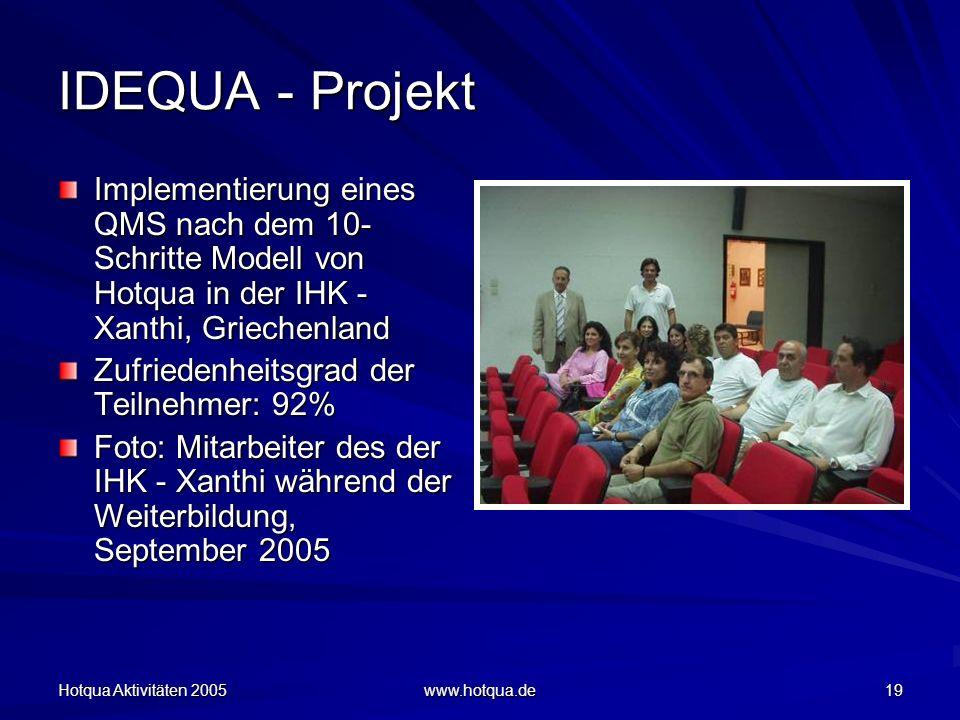 Hotqua Aktivitäten 2005 www.hotqua.de 19 IDEQUA - Projekt Implementierung eines QMS nach dem 10- Schritte Modell von Hotqua in der IHK - Xanthi, Griechenland Zufriedenheitsgrad der Teilnehmer: 92% Foto: Mitarbeiter des der IHK - Xanthi während der Weiterbildung, September 2005