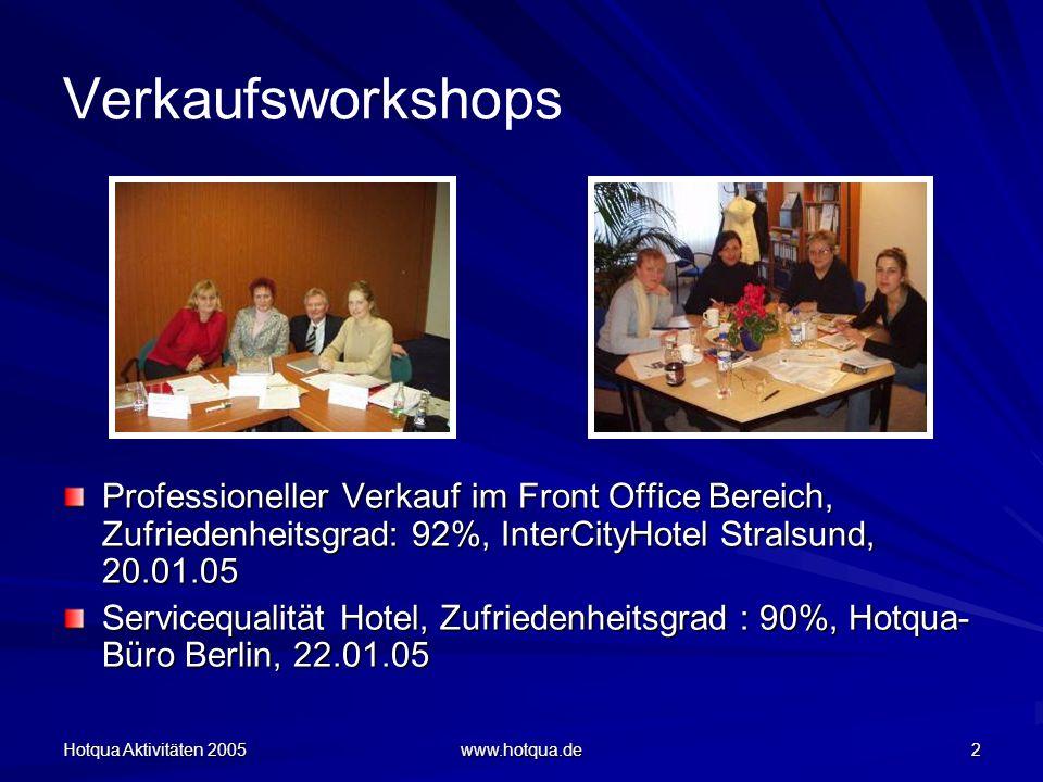 Hotqua Aktivitäten 2005 www.hotqua.de 2 Verkaufsworkshops Professioneller Verkauf im Front Office Bereich, Zufriedenheitsgrad: 92%, InterCityHotel Stralsund, 20.01.05 Servicequalität Hotel, Zufriedenheitsgrad : 90%, Hotqua- Büro Berlin, 22.01.05