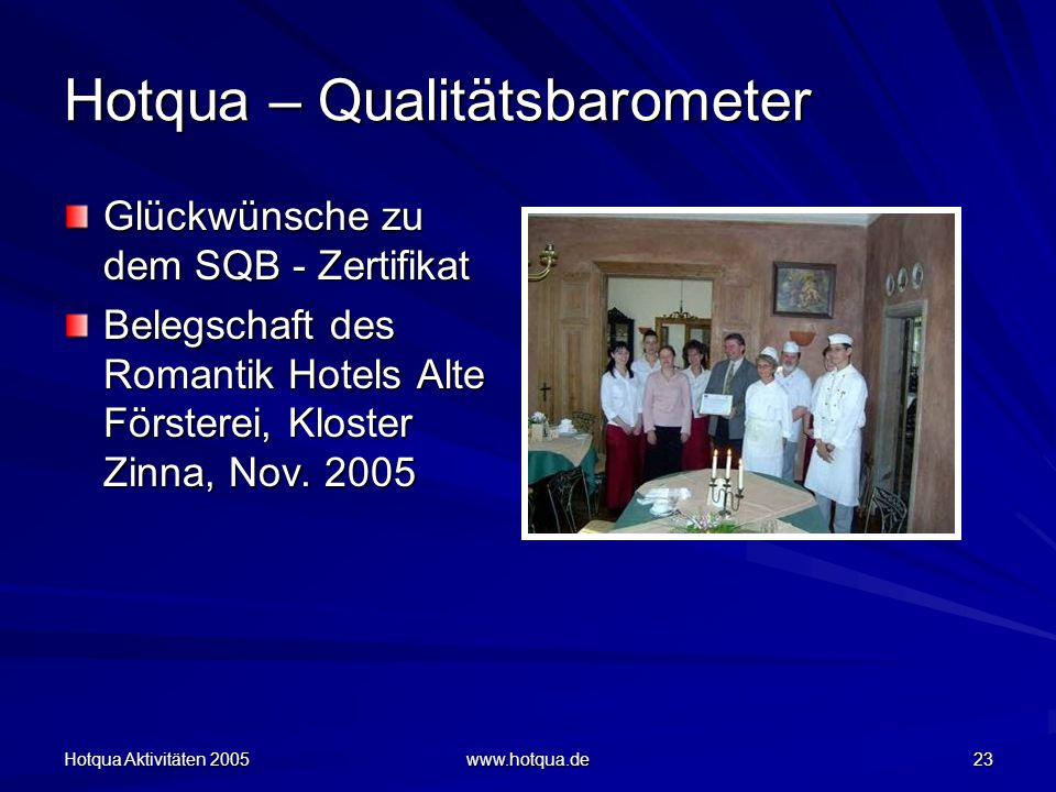 Hotqua Aktivitäten 2005 www.hotqua.de 23 Hotqua – Qualitätsbarometer Glückwünsche zu dem SQB - Zertifikat Belegschaft des Romantik Hotels Alte Försterei, Kloster Zinna, Nov.