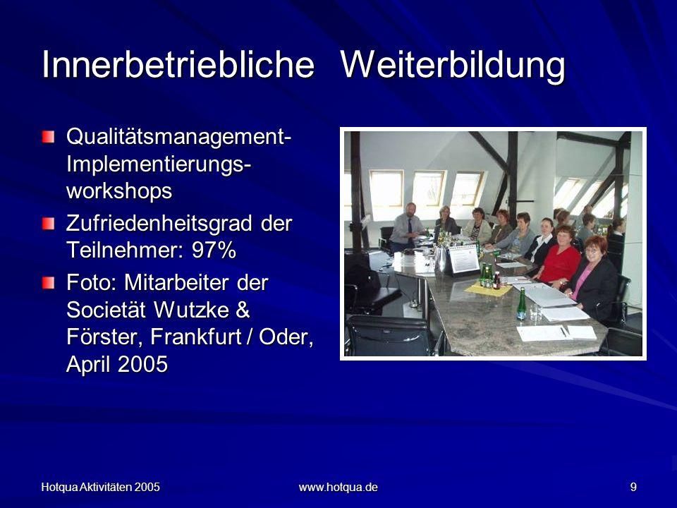 Hotqua Aktivitäten 2005 www.hotqua.de 9 Innerbetriebliche Weiterbildung Qualitätsmanagement- Implementierungs- workshops Zufriedenheitsgrad der Teilnehmer: 97% Foto: Mitarbeiter der Societät Wutzke & Förster, Frankfurt / Oder, April 2005