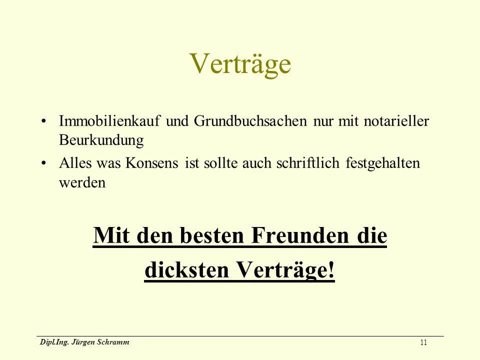 11 Dipl.Ing. Jürgen Schramm Verträge Immobilienkauf und Grundbuchsachen nur mit notarieller Beurkundung Alles was Konsens ist sollte auch schriftlich