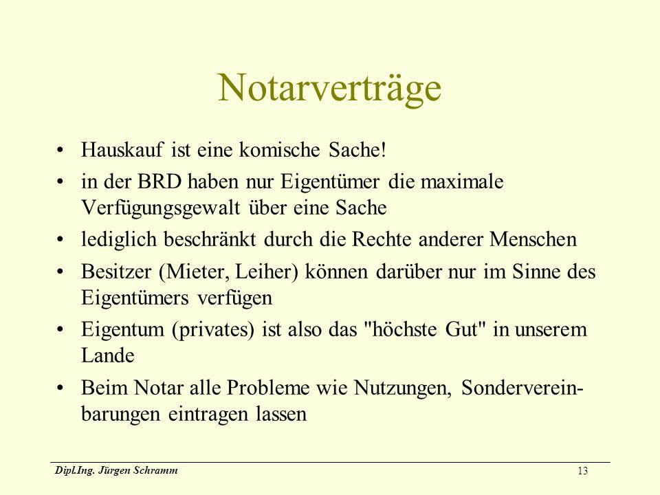 13 Dipl.Ing. Jürgen Schramm Notarverträge Hauskauf ist eine komische Sache! in der BRD haben nur Eigentümer die maximale Verfügungsgewalt über eine Sa