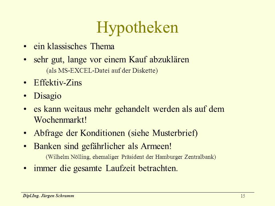 15 Dipl.Ing. Jürgen Schramm Hypotheken ein klassisches Thema sehr gut, lange vor einem Kauf abzuklären (als MS-EXCEL-Datei auf der Diskette) Effektiv-
