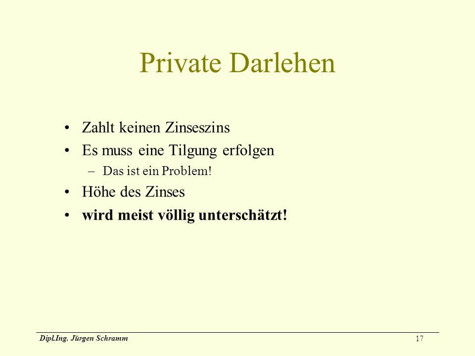 17 Dipl.Ing. Jürgen Schramm Private Darlehen Zahlt keinen Zinseszins Es muss eine Tilgung erfolgen –Das ist ein Problem! Höhe des Zinses wird meist vö