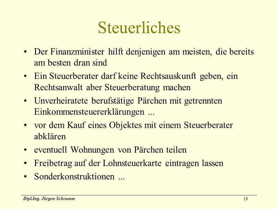 19 Dipl.Ing. Jürgen Schramm Steuerliches Der Finanzminister hilft denjenigen am meisten, die bereits am besten dran sind Ein Steuerberater darf keine