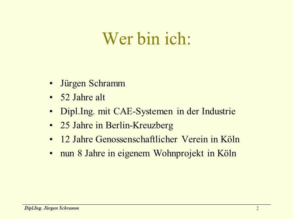 2 Dipl.Ing. Jürgen Schramm Wer bin ich: Jürgen Schramm 52 Jahre alt Dipl.Ing. mit CAE-Systemen in der Industrie 25 Jahre in Berlin-Kreuzberg 12 Jahre