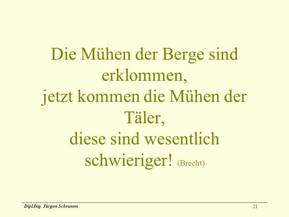 21 Dipl.Ing. Jürgen Schramm Die Mühen der Berge sind erklommen, jetzt kommen die Mühen der Täler, diese sind wesentlich schwieriger! (Brecht)