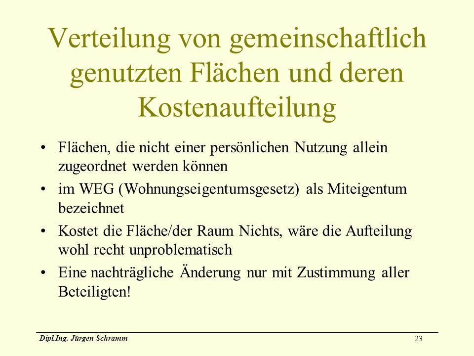 23 Dipl.Ing. Jürgen Schramm Verteilung von gemeinschaftlich genutzten Flächen und deren Kostenaufteilung Flächen, die nicht einer persönlichen Nutzung