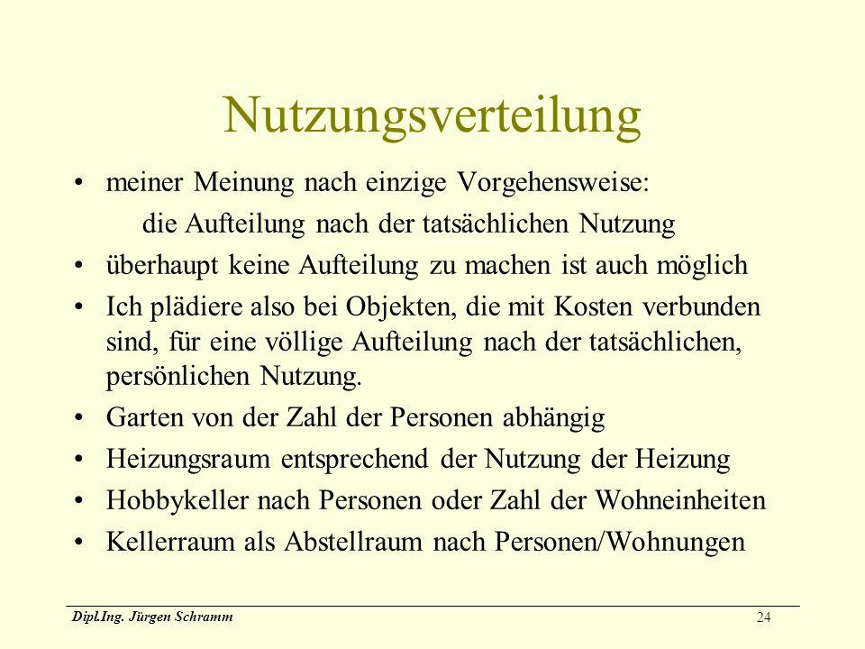 24 Dipl.Ing. Jürgen Schramm Nutzungsverteilung meiner Meinung nach einzige Vorgehensweise: die Aufteilung nach der tatsächlichen Nutzung überhaupt kei