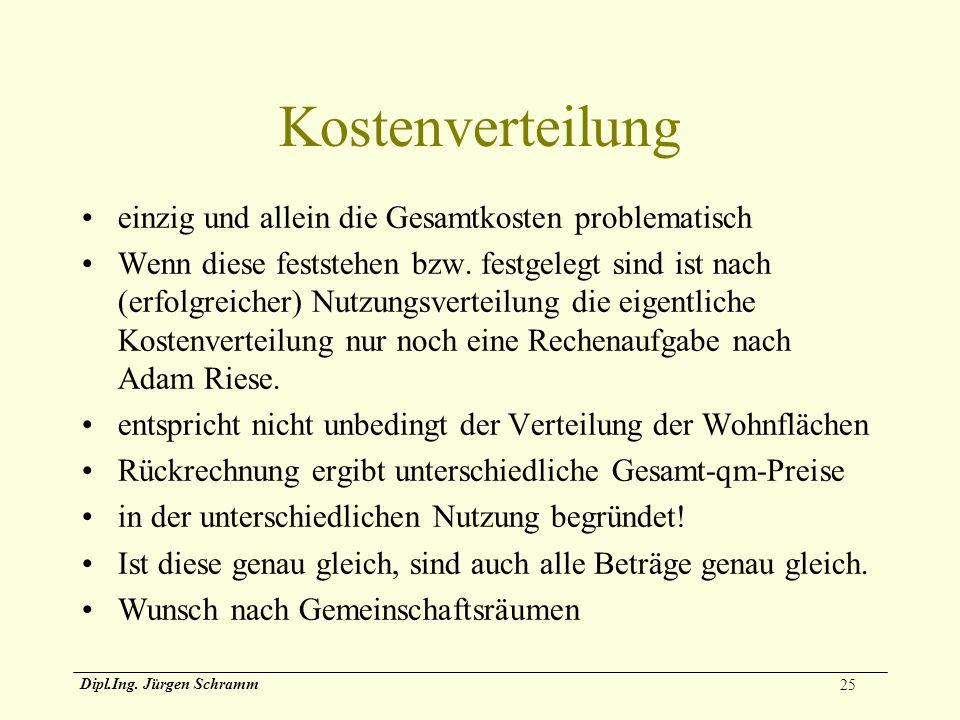 25 Dipl.Ing. Jürgen Schramm Kostenverteilung einzig und allein die Gesamtkosten problematisch Wenn diese feststehen bzw. festgelegt sind ist nach (erf
