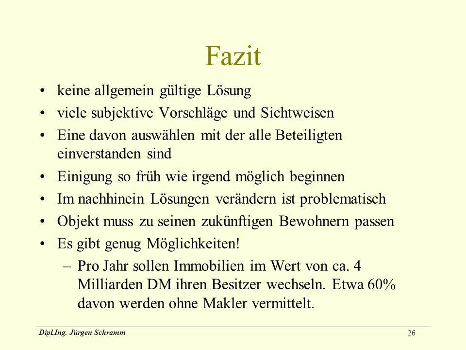 26 Dipl.Ing. Jürgen Schramm Fazit keine allgemein gültige Lösung viele subjektive Vorschläge und Sichtweisen Eine davon auswählen mit der alle Beteili