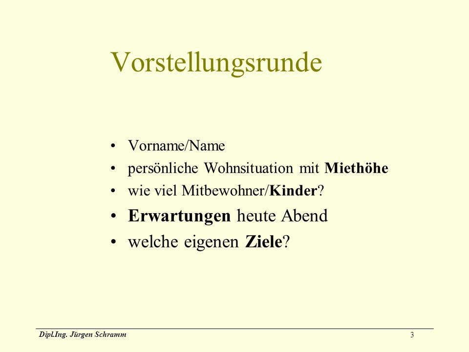 3 Dipl.Ing. Jürgen Schramm Vorstellungsrunde Vorname/Name persönliche Wohnsituation mit Miethöhe wie viel Mitbewohner/Kinder? Erwartungen heute Abend