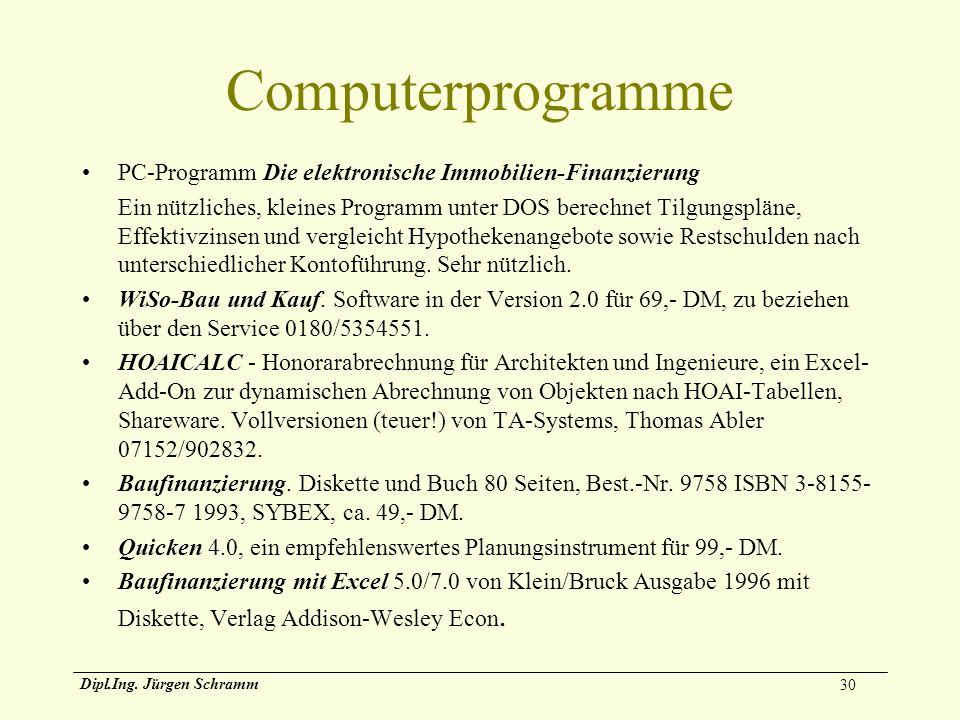 30 Dipl.Ing. Jürgen Schramm Computerprogramme PC-Programm Die elektronische Immobilien-Finanzierung Ein nützliches, kleines Programm unter DOS berechn