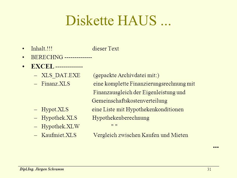 31 Dipl.Ing. Jürgen Schramm Diskette HAUS... Inhalt.!!! dieser Text BERECHNG -------------- EXCEL -------------- –XLS_DAT.EXE (gepackte Archivdatei mi