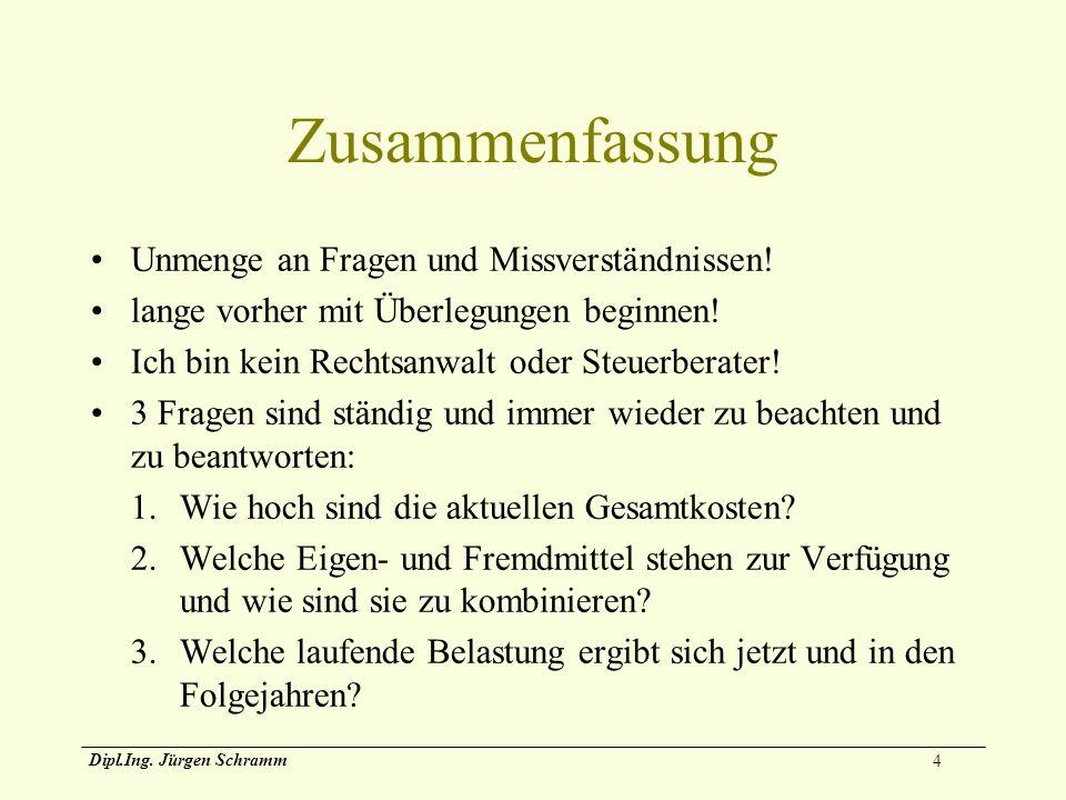 4 Dipl.Ing. Jürgen Schramm Zusammenfassung Unmenge an Fragen und Missverständnissen! lange vorher mit Überlegungen beginnen! Ich bin kein Rechtsanwalt