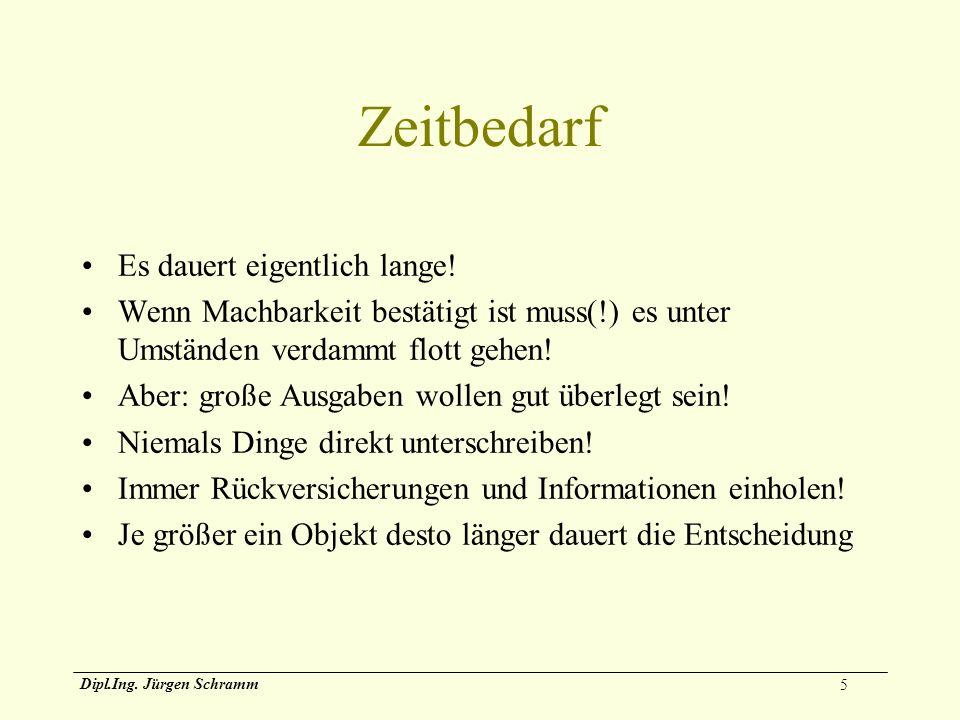 5 Dipl.Ing. Jürgen Schramm Zeitbedarf Es dauert eigentlich lange! Wenn Machbarkeit bestätigt ist muss(!) es unter Umständen verdammt flott gehen! Aber