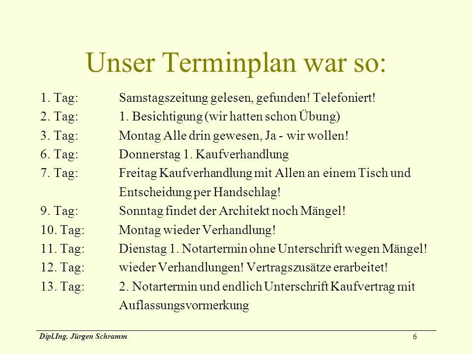 6 Dipl.Ing. Jürgen Schramm Unser Terminplan war so: 1. Tag:Samstagszeitung gelesen, gefunden! Telefoniert! 2. Tag:1. Besichtigung (wir hatten schon Üb
