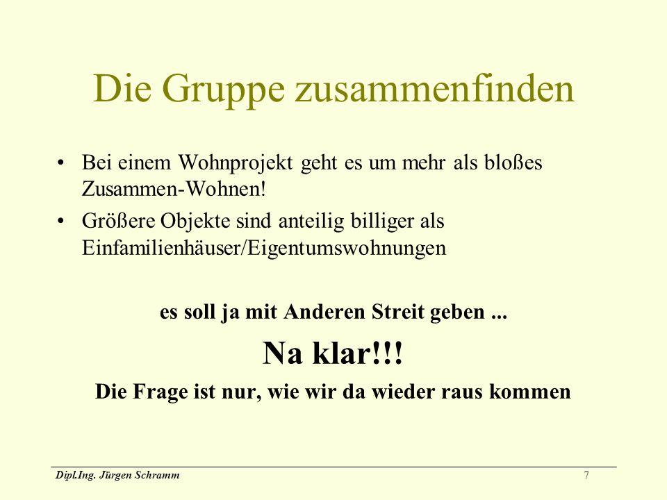7 Dipl.Ing. Jürgen Schramm Die Gruppe zusammenfinden Bei einem Wohnprojekt geht es um mehr als bloßes Zusammen-Wohnen! Größere Objekte sind anteilig b