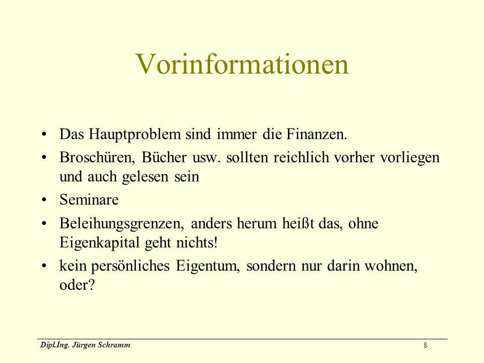 8 Dipl.Ing. Jürgen Schramm Vorinformationen Das Hauptproblem sind immer die Finanzen. Broschüren, Bücher usw. sollten reichlich vorher vorliegen und a