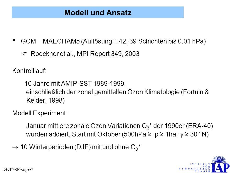 GCM MAECHAM5 (Auflösung: T42, 39 Schichten bis 0.01 hPa) Roeckner et al., MPI Report 349, 2003 Kontrolllauf: 10 Jahre mit AMIP-SST 1989-1999, einschli