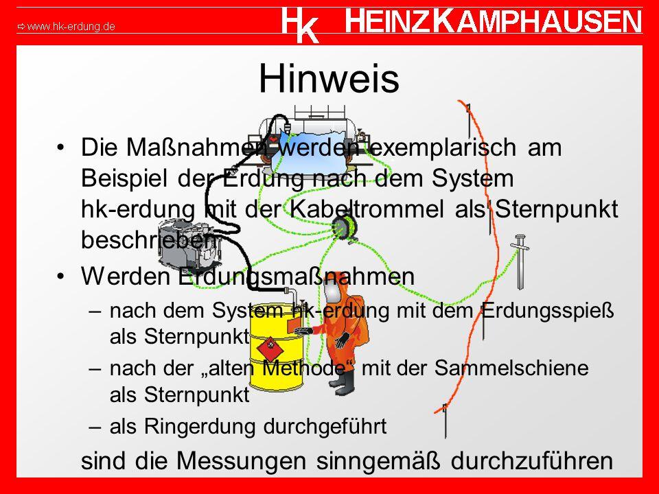 Hinweis Die Maßnahmen werden exemplarisch am Beispiel der Erdung nach dem System hk-erdung mit der Kabeltrommel als Sternpunkt beschrieben Werden Erdu
