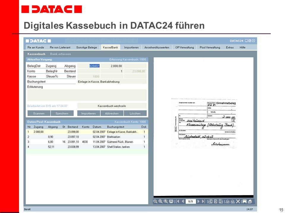 15 Digitales Kassebuch in DATAC24 führen