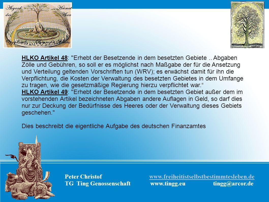 Peter Christof www.freiheitistselbstbestimmtesleben.dewww.freiheitistselbstbestimmtesleben.de TG Ting Genossenschaft www.tingg.eu tingg@arcor.de HLKO