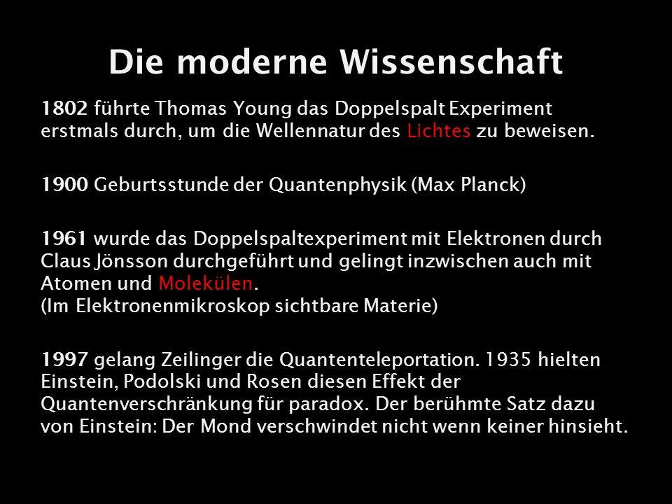 Die moderne Wissenschaft 1802 führte Thomas Young das Doppelspalt Experiment erstmals durch, um die Wellennatur des Lichtes zu beweisen. 1900 Geburtss