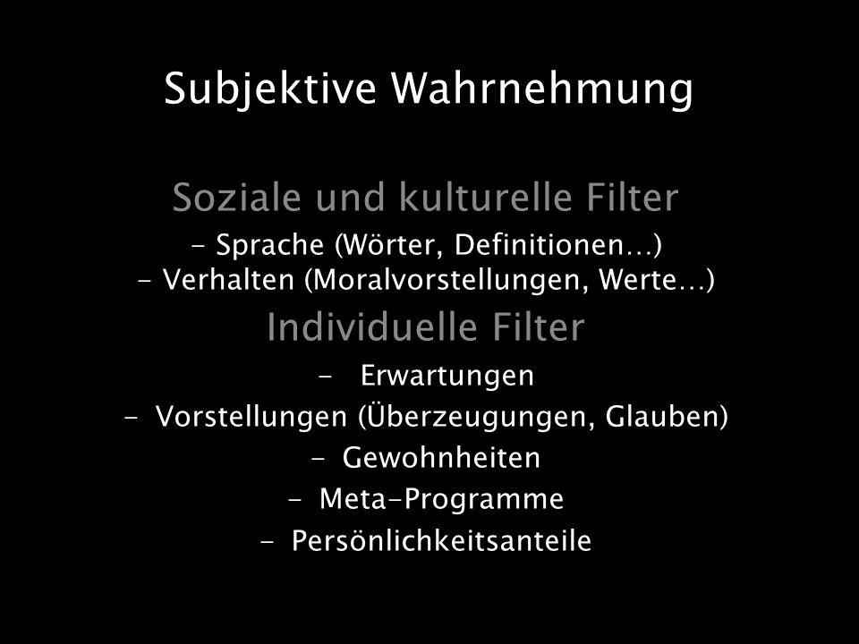 Soziale und kulturelle Filter - Sprache (Wörter, Definitionen…) - Verhalten (Moralvorstellungen, Werte…) Individuelle Filter -Erwartungen -Vorstellung