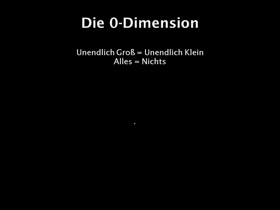 Die 0-Dimension Unendlich Groß = Unendlich Klein Alles = Nichts.